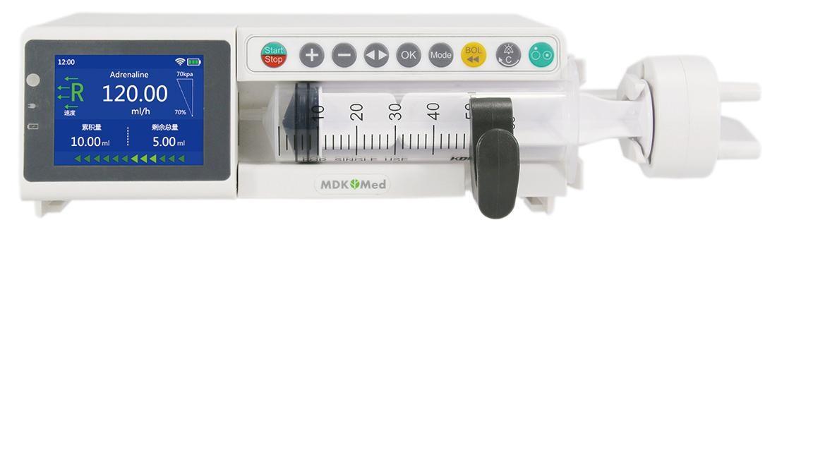 Máy bơm tiêm điện 01 kênh với màn hình cảm ứng màu TFT 2.8inch có chức năng quản lý thư viện thuốc