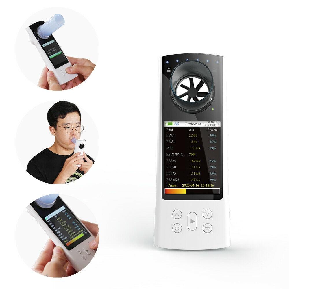 Máy đo phế dung kế loại cầm tay kết nối Bluetooth / Thiết bị đo thể tích phổi loại cầm tay kết nối Bluetooth qua Smartphone; PC bởi Phần mềm PC