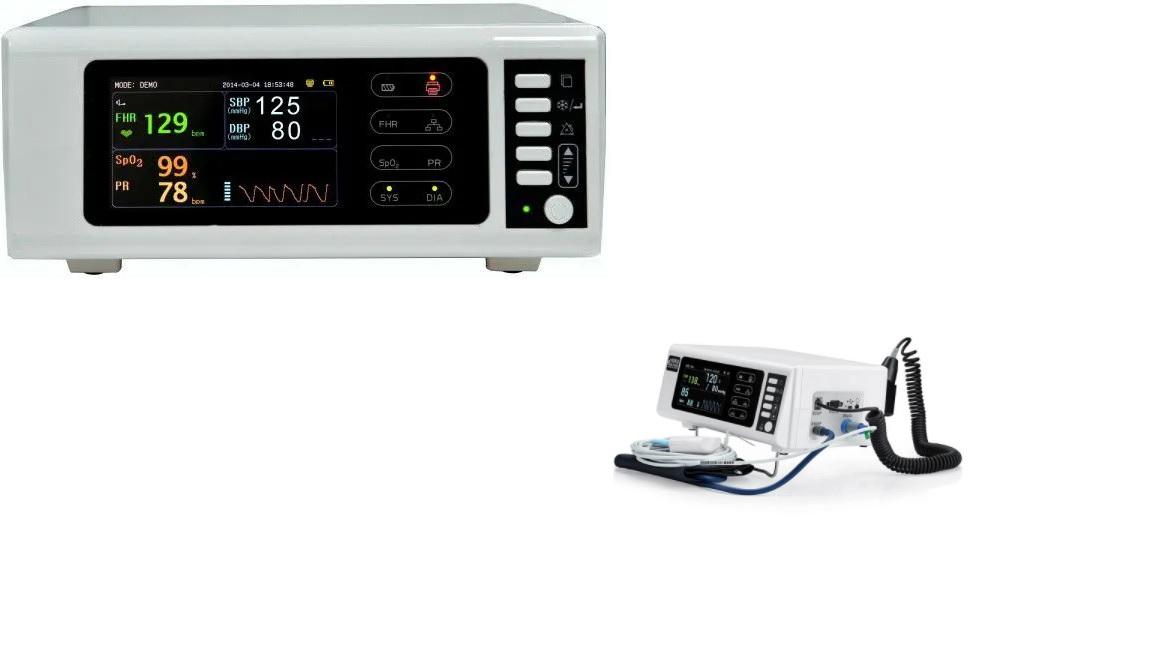 Monitor theo dõi thai nhi / Monitor sản khoa có chức năng có thêm chức năng đo SpO2, NiBP với màn hình màu LCD