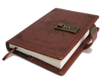 Sổ tay Vintage bằng da với khóa
