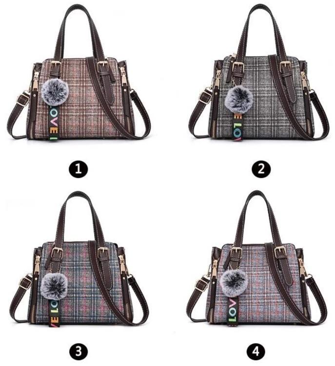 Túi xách thời trang vải contton với phụ kiện bóng tua