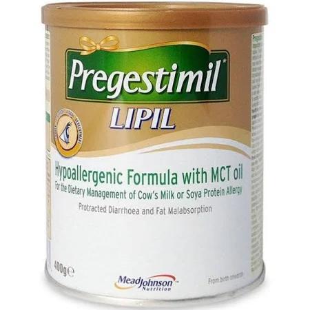 Sữa Pregestimil Lipil dùng cho từ 0-> 12 tháng tuổi (Sữa đặc hiệu dinh dưỡng đặc chế cho trẻ dị ứng đạm sữa bò và đạm đậu nành, bé bị tiêu chảy kéo dài và kém hấp thu chất béo)
