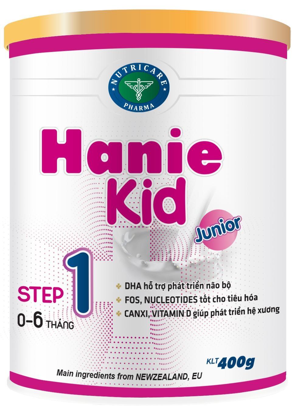 Sữa Hanie Kid 1 (Sữa đặc hiệu dành cho trẻ phát triển não bộ; hỗ trợ tiêu hóa; giúp phát triển hệ xương dùng cho trẻ từ 0 -> 06 tháng tuổi;  ….)