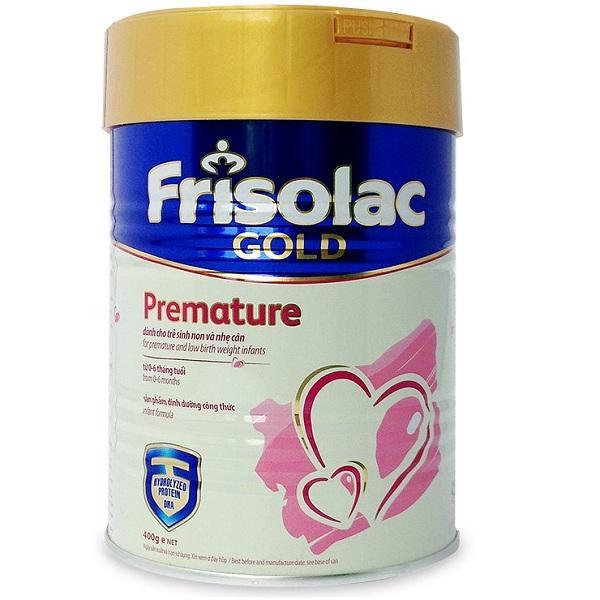 Sữa Frisolac Gold Premature dành cho trẻ sinh non từ 0->6 tháng tuổi (Sữa đặc hiệu cung cấp dinh dưỡng đặc biệt, cung cấp thêm đạm và năng lượng để đáp ứng nhu cầu dinh dưỡng của trẻ Sinh non, Thiếu t