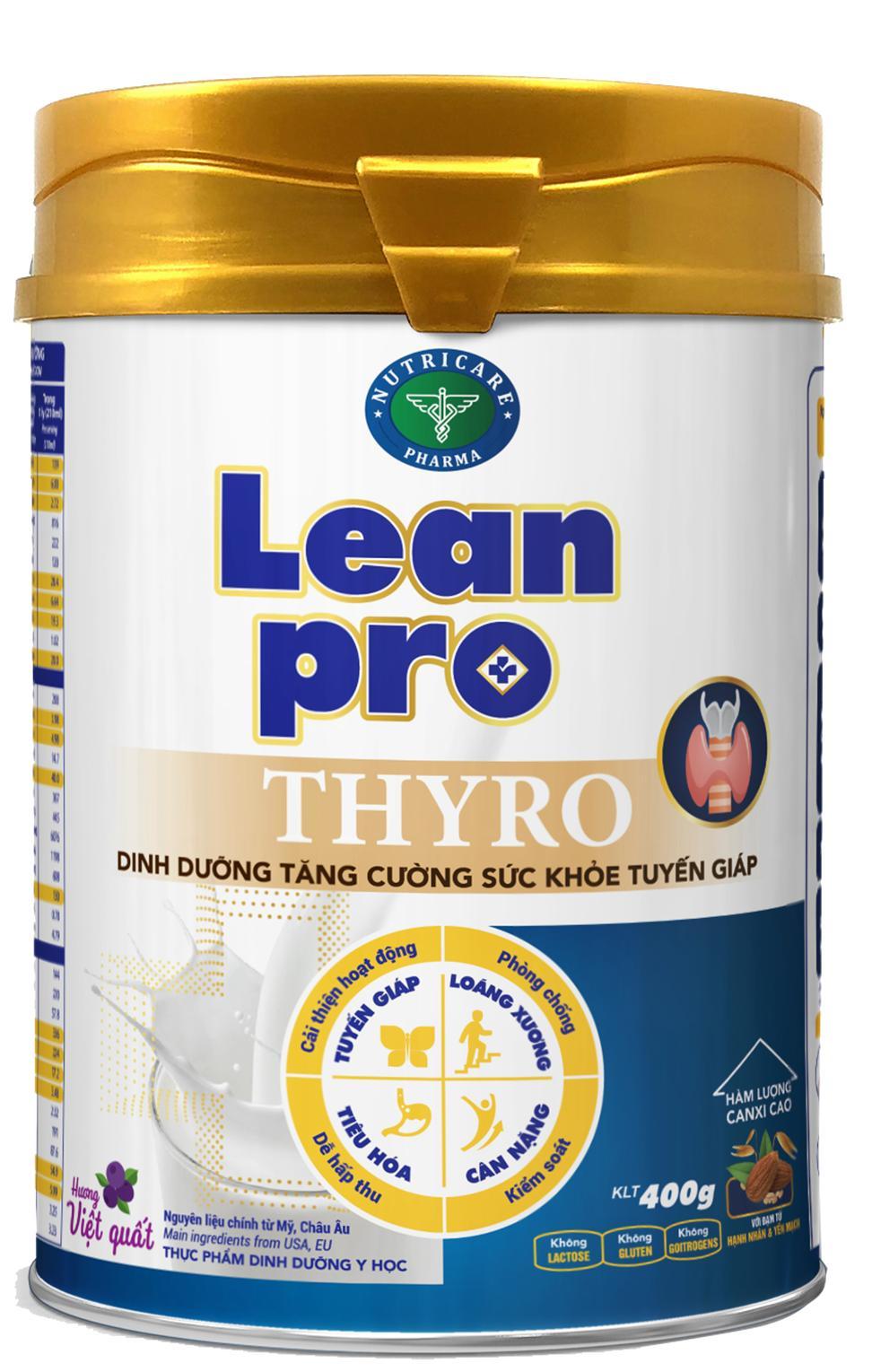 Sữa Lean Pro Thyro (Sữa đặc hiệu dành cho người lớn; trẻ em trên 10 tuổi suy giảm chức năng tuyến giáp, bệnh nhân suy giáp, bệnh nhân sau phẫu thuật tuyến giáp, bệnh nhân sau điều trị phóng xạ lod)