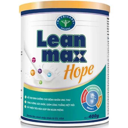 Sữa Leanmax Hope (Sữa đặc hiệu chuyên biệt hỗ trợ dinh dưỡng cho bệnh nhân Ung Thư, tăng cường sức đề kháng nhằm chống lại bệnh, giảm căng thẳng mệt mỏi, cải thiện tiêu hóa và giúp ăn ngon miệng)