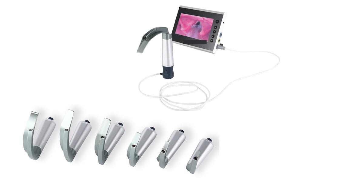 Bộ đặt nội khí quản có camera với màn hình 7inch và phụ kiện đi kèm (loại lưỡi tái sử dụng dùng cho người lớn; trẻ em; trẻ sơ sinh và đặt nội khí quản khó)